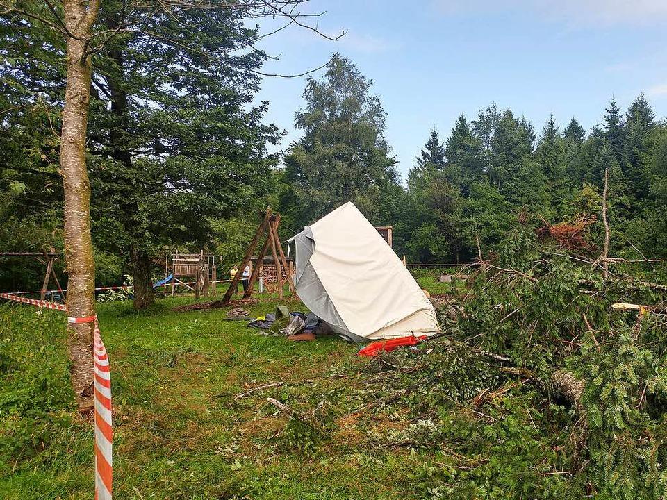 Großeinsatz bei Rickenbach: In einem Z...unge von einem Baum erschlagen worden.  | Foto: Felix Held