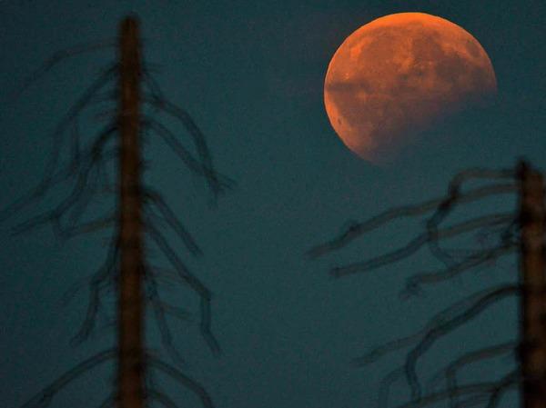 Blick auf die partielle Mondfinsternis  vom Plöckenstein an der österreichisch-tschechischen Grenze.