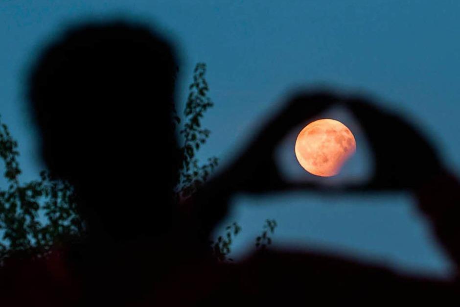 Ein Mann visiert in Frankfurt am Main (Hessen) mit seinen Händen die partielle Mondfinsternis an, die er am Bornheimer Hang verfolgt. (Foto: dpa)