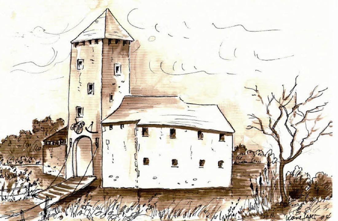 So könnte das Wasserschloss nach einer... gegebenen Zeichnung ausgesehen haben.  | Foto: Herbert Frey