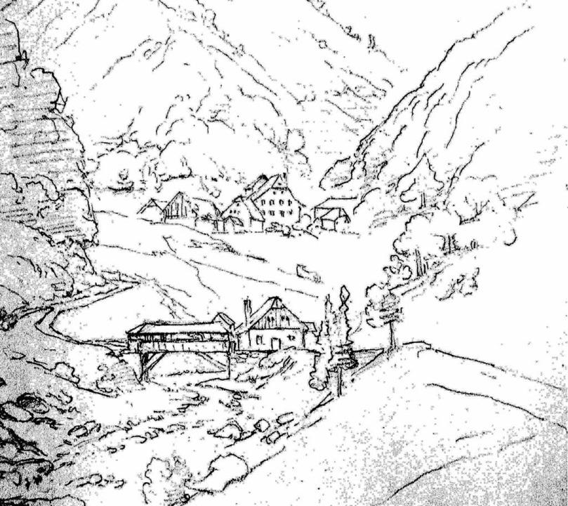 Die alte, noch holzgedeckte Brücke übe...lers Friedrich Gagg-Löwenberg von 1859  | Foto: Repro: Paul Eisenbeis