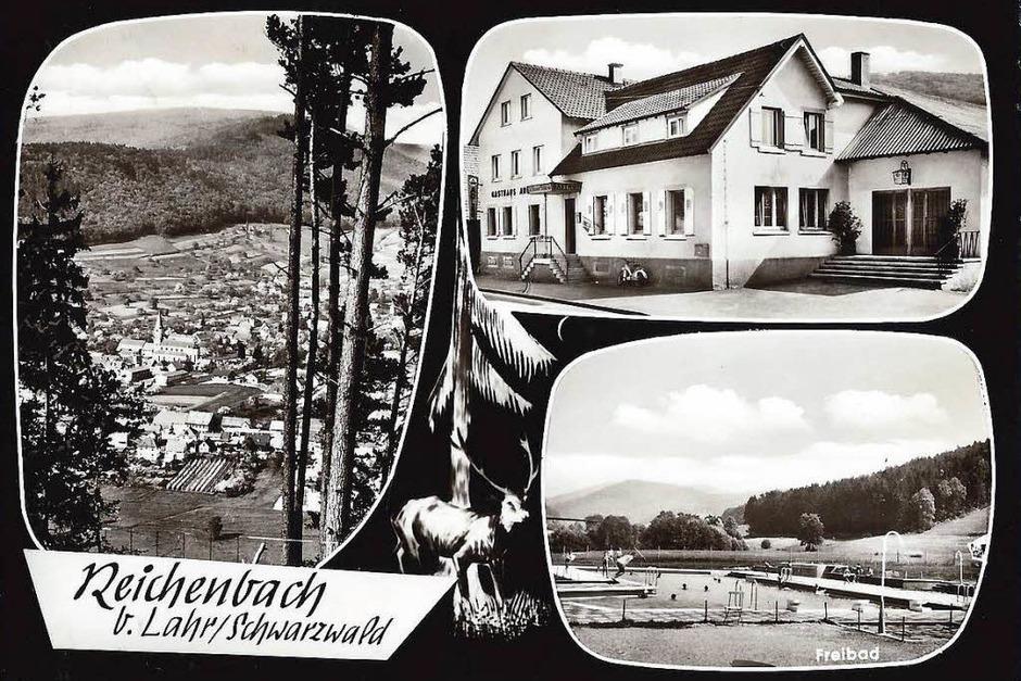 Reichenbach wirbt unter anderem mit seinem Schwimmbad (1960). (Foto: Manfred Eble)