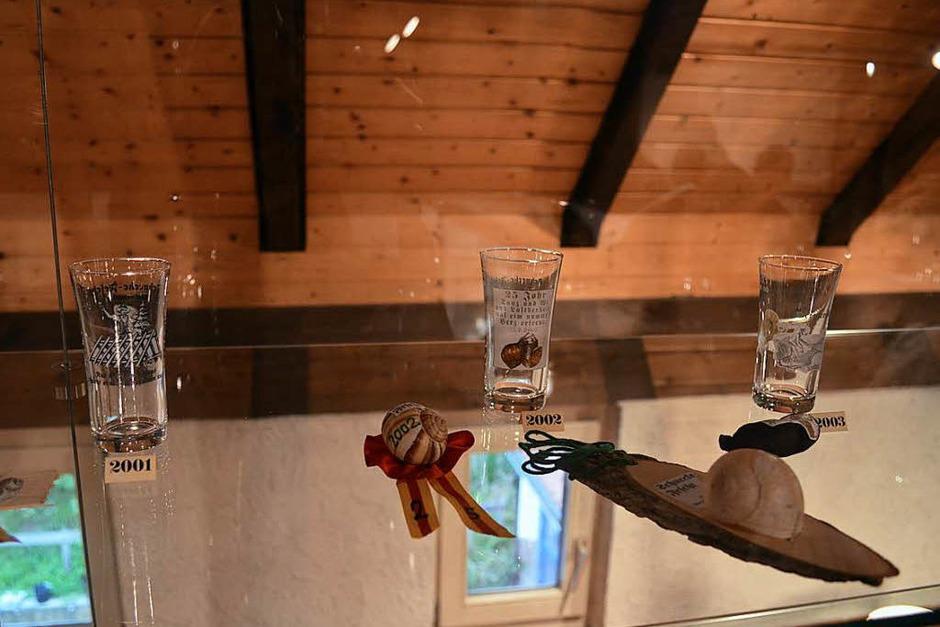 In den Vitrinen werden Ausstellungsstücke aus 40 Jahren Schneckenfest gezeigt. (Foto: Nikola Vogt)