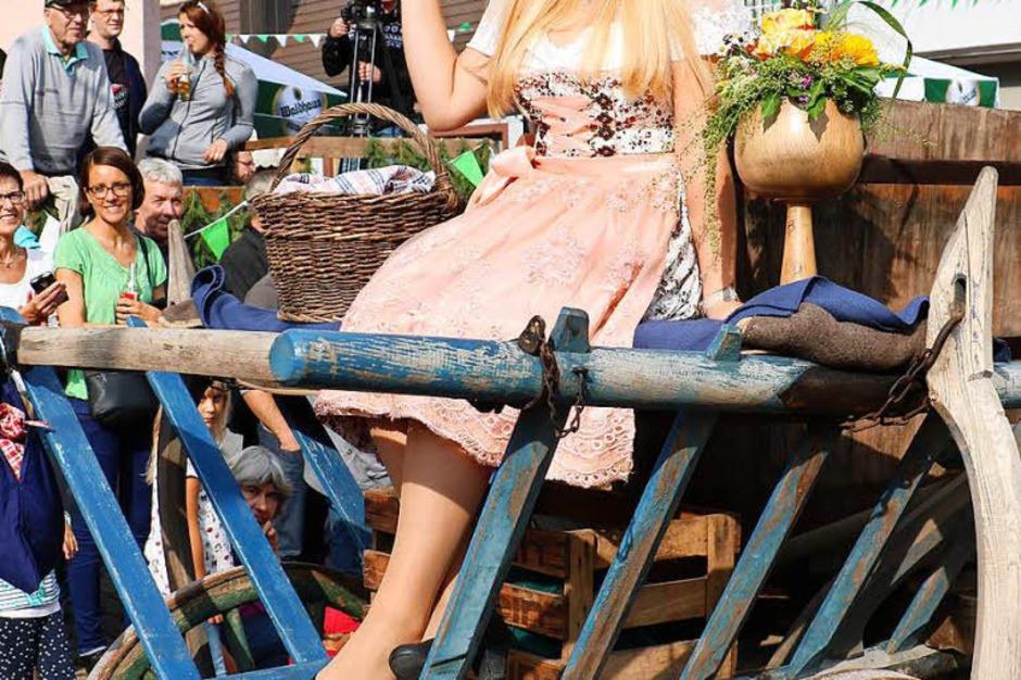 Beim Brauchtumsnachmittag am Samstag: Weinprinzessin Sinja Hornecker auf einem Herbstwagen von früher (Foto: Christa Rinklin)