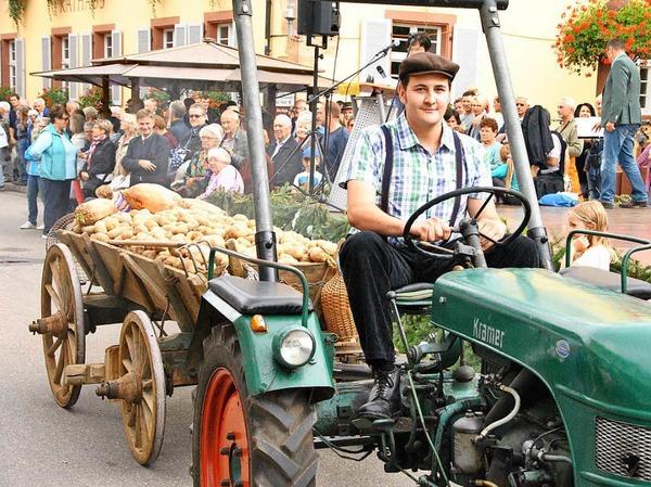 Beim Brauchtumsnachmittag am Samstag: Ein Dillenwagen, benannt nach den an der Seite angebrachten Brettern (Dillen), beladen mit Kartoffeln.