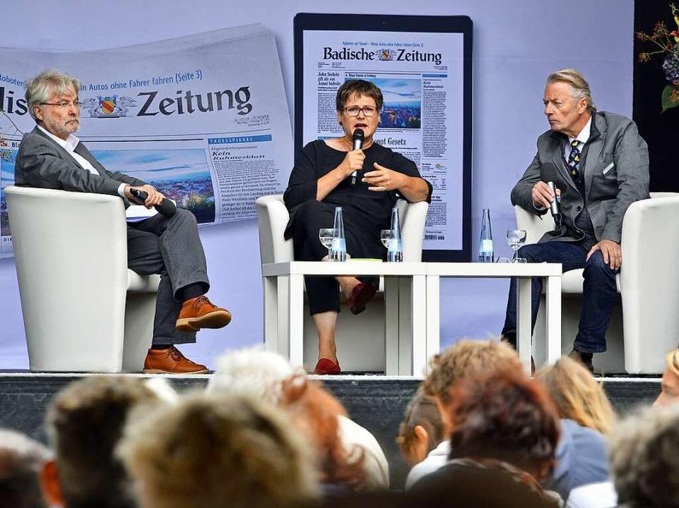 Leni Breymaier im BZ-Talk mit Thomas Hauser (links)  | Foto: Michael Bamberg