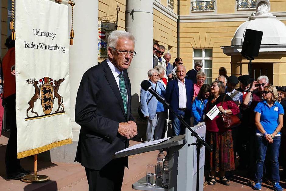 Ministerpräsident Winfried Kretschmann reflektiert in seiner Ansprache den Begriff Heimat. (Foto: Sylvia Sredniawa)