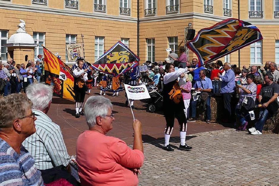 Die Fahnenwerfer der Schwarzenberger Herolde beim Landesfestumzug. (Foto: Sylvia Sredniawa)