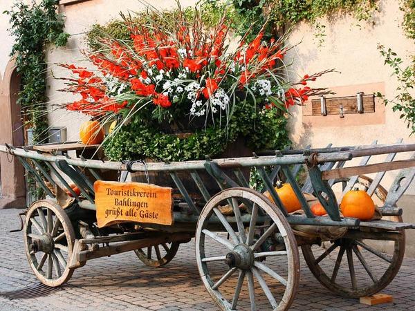 Liebevoll gestaltete Leiterwagen empfingen die Besucher an allen Eingängen des Festgeländes.
