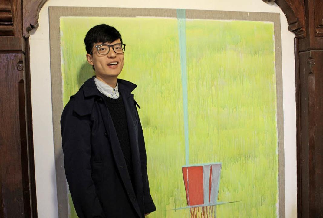 Yulong Lin vor einem seiner Werke   | Foto: Erich Krieger