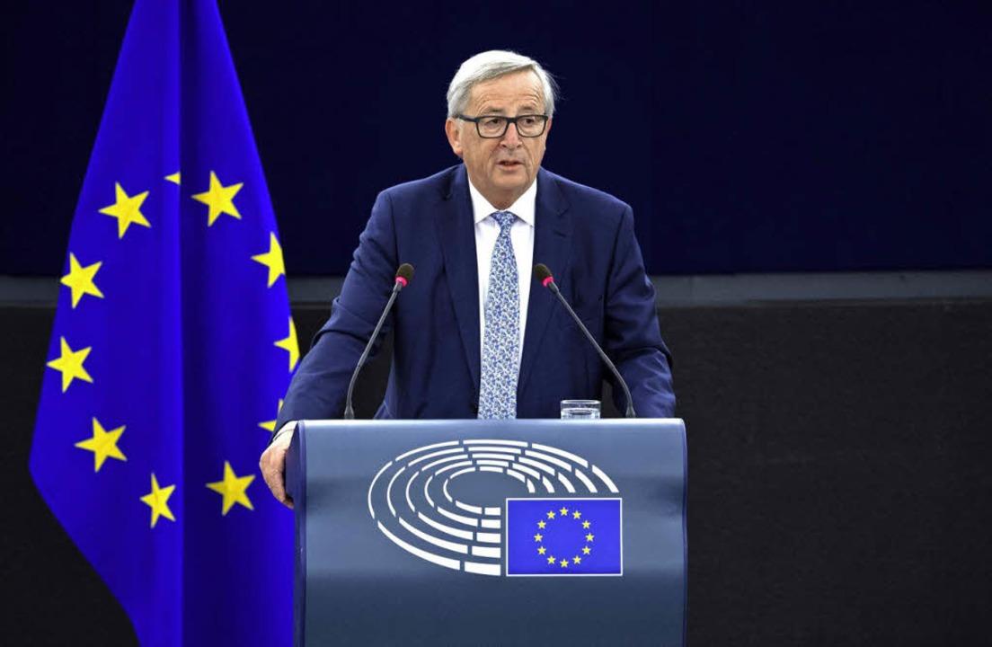 EU-Kommissionspräsident Jean-Claude Ju...rlament in Straßburg seine Pläne vor.   | Foto: AFP