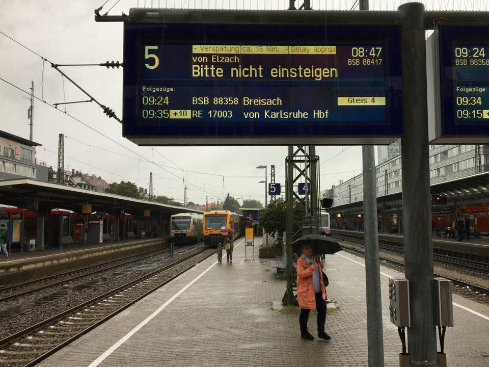 Auf der Rheintalstrecke hatten Züge Ve...sind wegen des Sturmtiefs ausgefallen.  | Foto: Simone Höhl