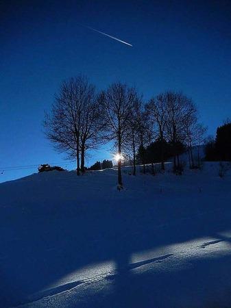 Winterliche Abendstimmung in Blau (Wiesental)