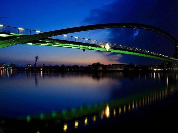 Dreiländer Brücke bei Nacht (Rheinfelden)