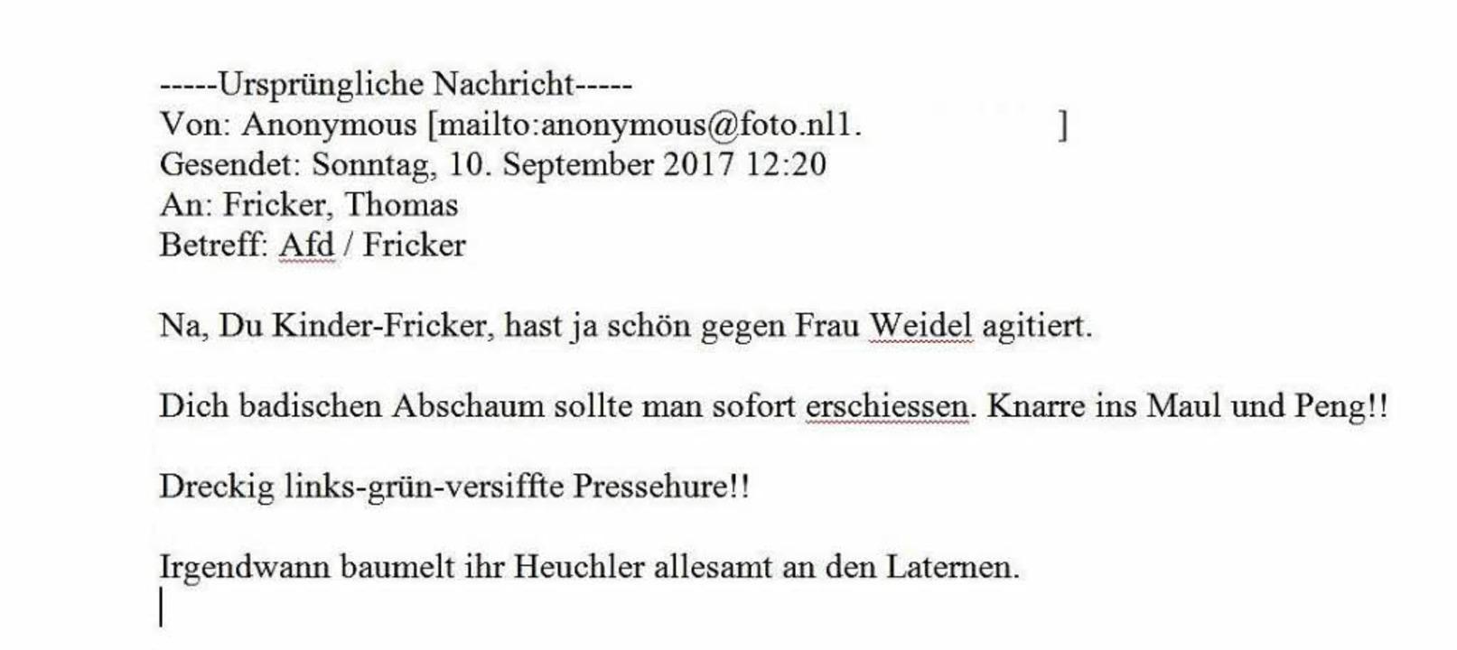 Zur Anzeige gebracht: Droh-Mail nach dem BZ-Wahltag  | Foto: BZ