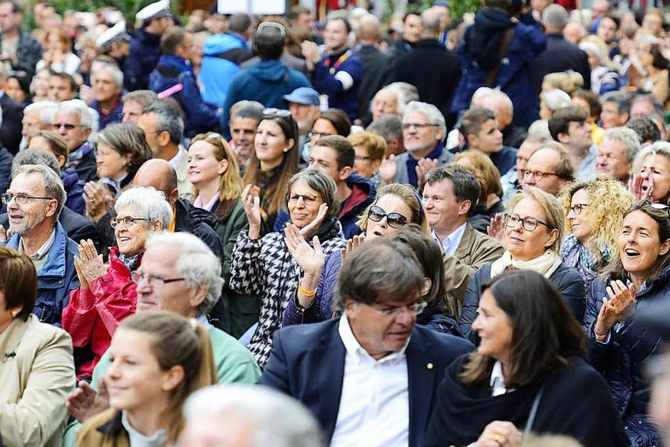 Bundeskanzlerin Angela Merkel war zum Wahlkampfauftritt nach Freiburg gekommen. (Foto: Ingo Schneider)