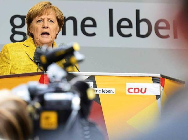 Bundeskanzlerin Angela Merkel war zum Wahlkampfauftritt nach Freiburg gekommen.