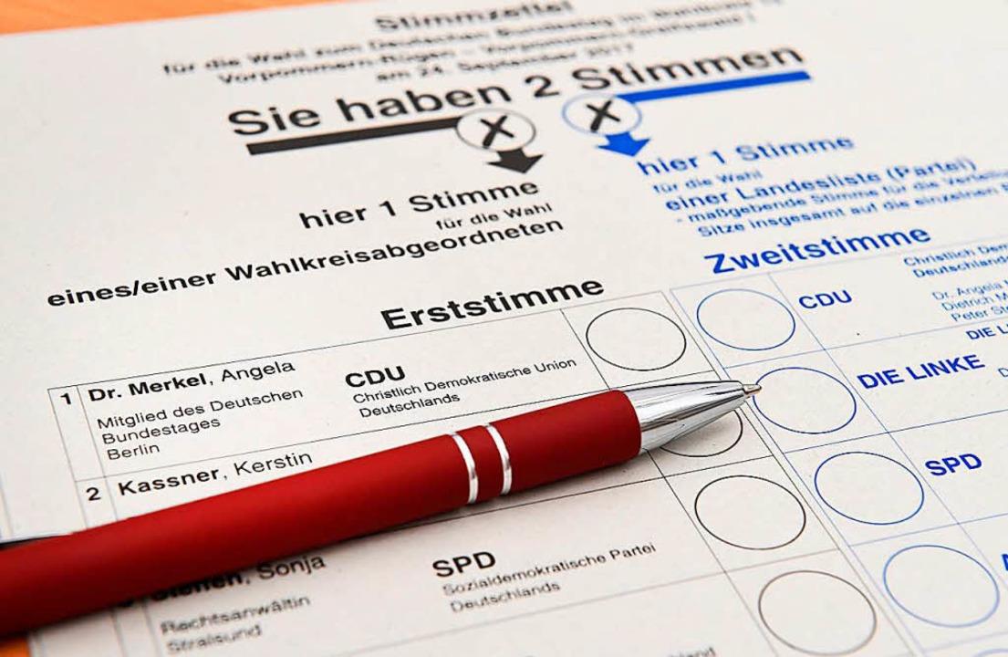 So sieht ein Stimmzettel für die Wahl ... Stralsund-Greifswald-Rügen-Vorpommern  | Foto: Stefan Sauer