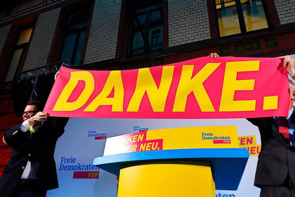 Danke-Plakat bei der FDP im  Hans-Dietrich-Genscher-Haus in Berlin (Foto: dpa)