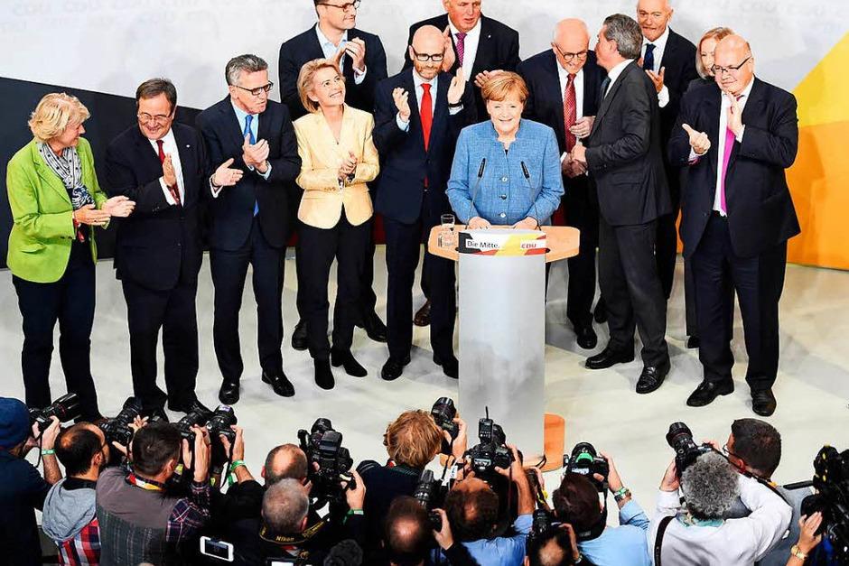 Bundeskanzlerin Angela Merkel in der Berliner Parteizentrale der CDU. (Foto: dpa)