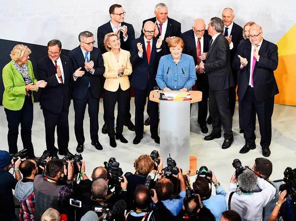 Bundeskanzlerin Angela Merkel in der Berliner Parteizentrale der CDU.