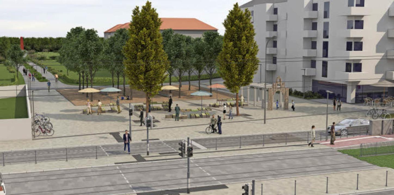 So könnte der Betzenhauser Torplatz &#...1; nach einem der Entwürfe  aussehen.   | Foto: Visualisierung: Link3D