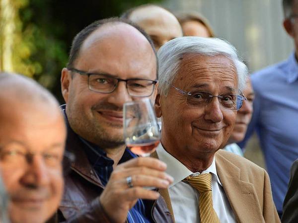 Der städtische Pressesprecher Wolfgang Reinbold (links), daneben Helmut Honold, früherer langjähriger und sehr erfolgreicher Weinfestchef.