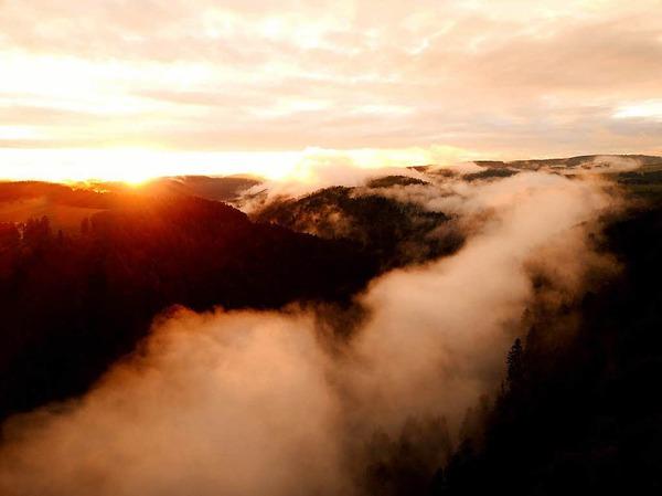 Kategorie Land: Sonnenuntergang nach Gewitter im August 2017 im Albbtal (Wilfingen bei Dachsberg)