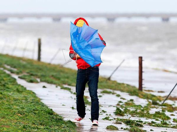 Sturmtief Xavier zieht mit starken Sturmböen über Teile Norddeutschlands hinweg. Auch über diesen Deich an der Nordseeküste bei Hooksiel in Niedersachsen.