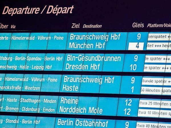 ... wie diese Anzeigentafel im Hauptbahnhof Hannover deutlich macht.