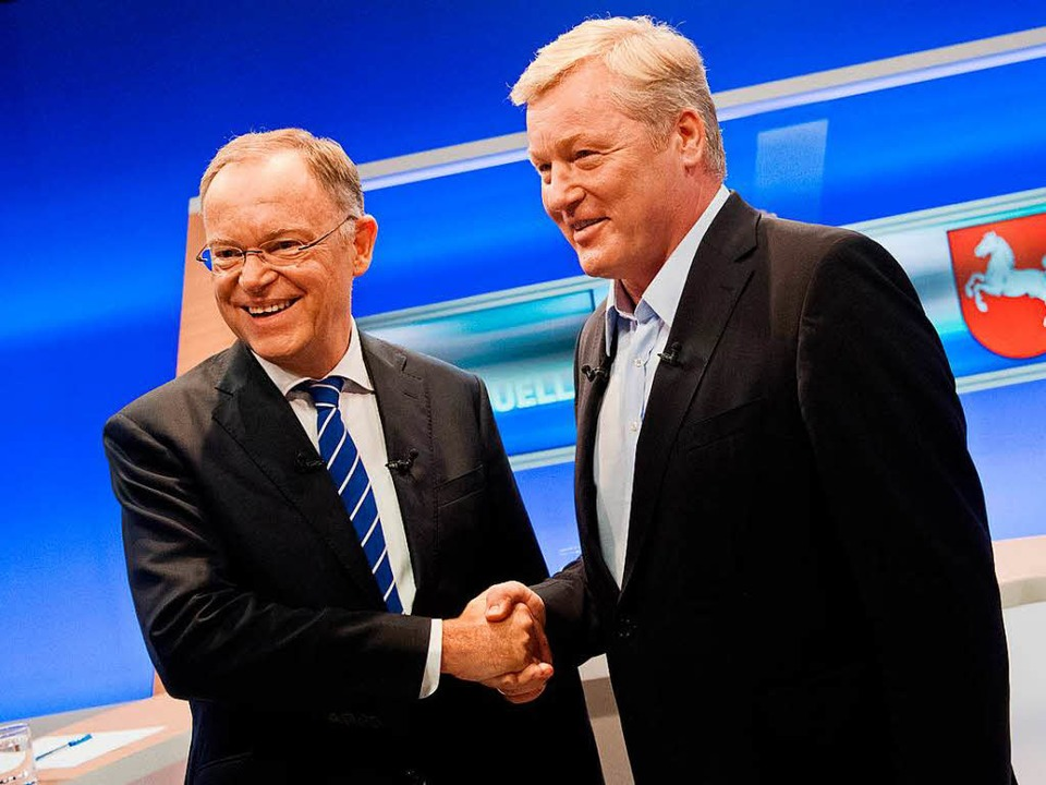 Niedersachsens Ministerpräsident Steph...d CDU-Spitzenkandidat Bernd Althusmann  | Foto: dpa
