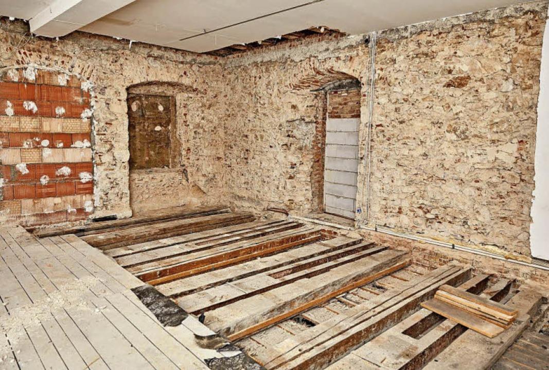 Im zweiten Obergeschoss des Augustiner...r Bauarbeiten am  Mauerwerk entdeckt.   | Foto: F. Bilger/Stadt Freiburg
