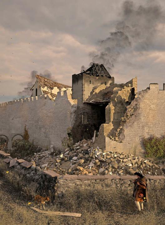 So stellen sich die Archäologen den be...mauer nach dem Erdbeben von 1356 vor.     Foto: Kanton Basel-Stadt