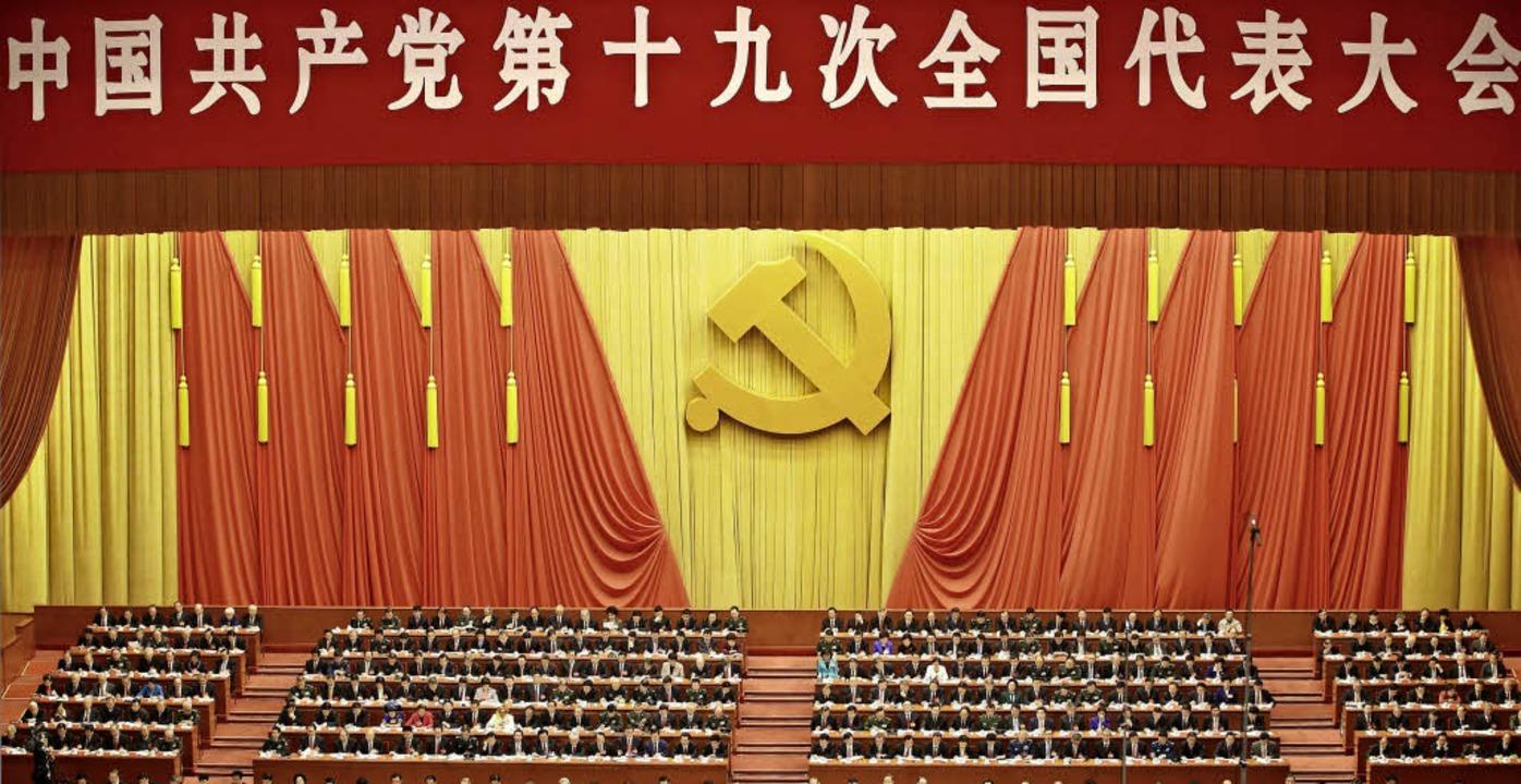 Eröffnungszeremonie des 19. Parteitages der Kommunistischen Partei Chinas   | Foto: DPA