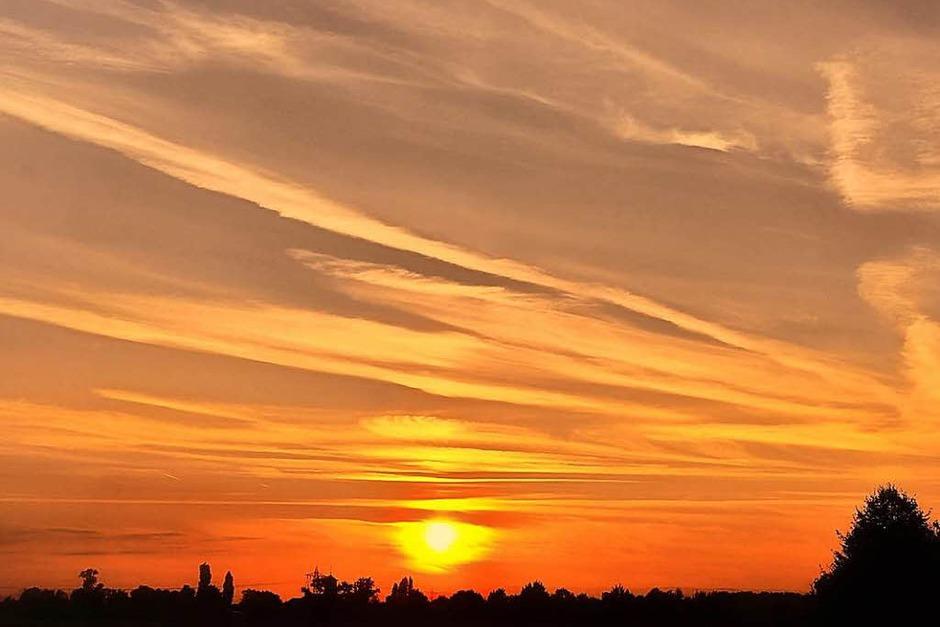 Mit Heißluft in den Sonnenuntergang. Aufgenommen in Schuttern (Foto: Manfred Pfaff)