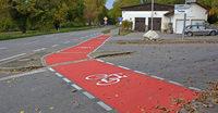 Neue rote Furt für Radfahrer