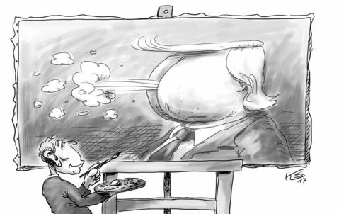 G.W. Bush, Kunstmaler, mit seinem neuesten Porträt … Zeichnung: Stuttmann