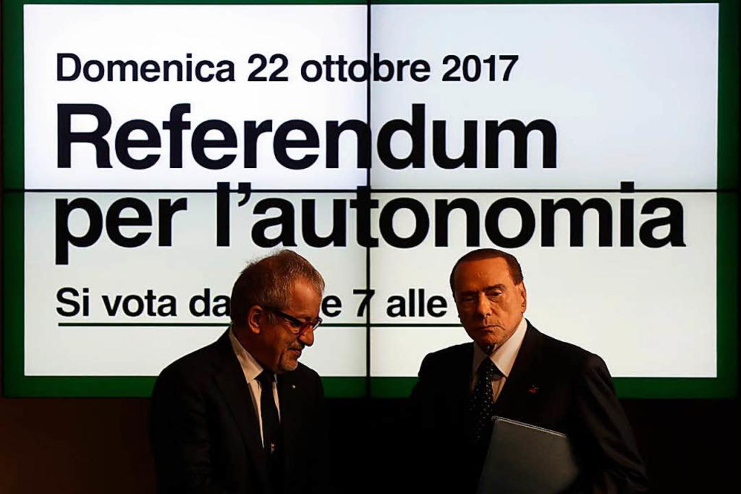 Italiens Ex-Ministerpräsident Silvio B...um geplanten Unabhängigkeitsreferendum  | Foto: dpa