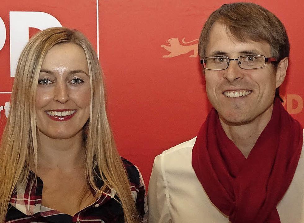 Der Kreisvorsitzende Philipp Schließer mit Stellvertreterin Vanessa Edmeier   | Foto: Hege