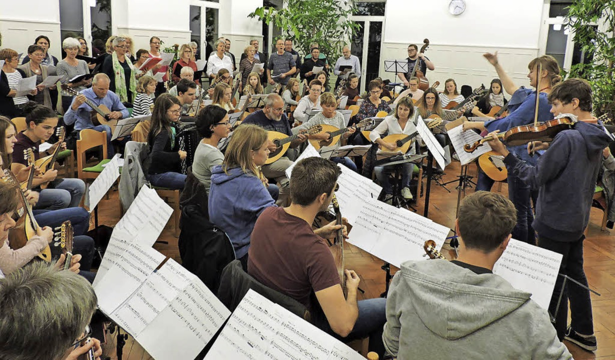 Das Orchester des Mandolinenvereins mi...ico Schanz, am Akkordeon Karin Fleck.   | Foto: Sylvia Sredniawa