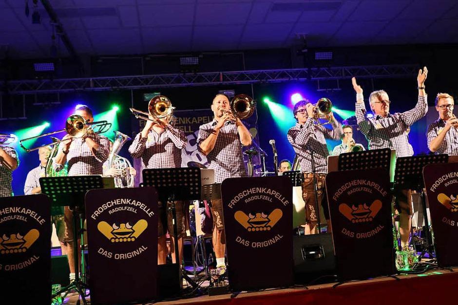 """""""Handgemachten Blechblas-Irrsinn"""" verspricht die Froschenkapelle aus Radolfzell. Irrsinnig gut sind sie tatsächlich, die Musik und die Stimmung der spielfreudigen, gut gelaunten Musiker vom Bodensee. (Foto: Martha Weishaar)"""