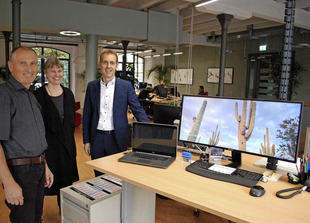 Dieser Arbeitsplatz ist frei. Peter Tr...z im neuen Co-Working-Space im Innocel  | Foto: Thomas Loisl Mink