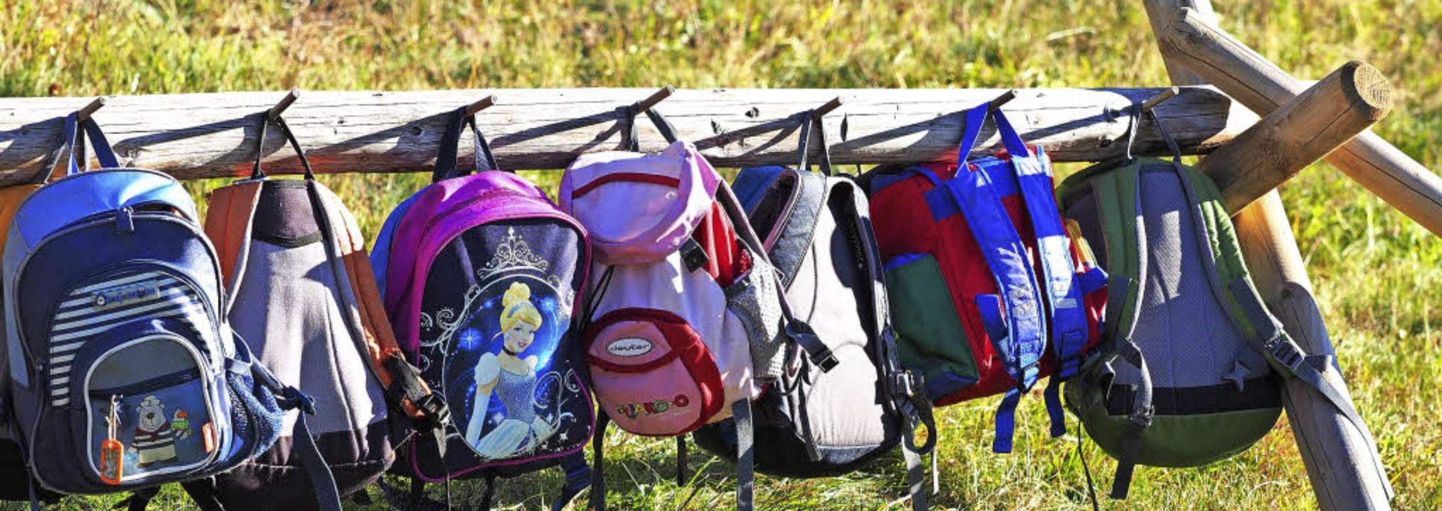 An der Baumstammgarderobe bewegen sich die bunten Rucksäcke der Kinder im Wind.   | Foto: Susanne Gilg