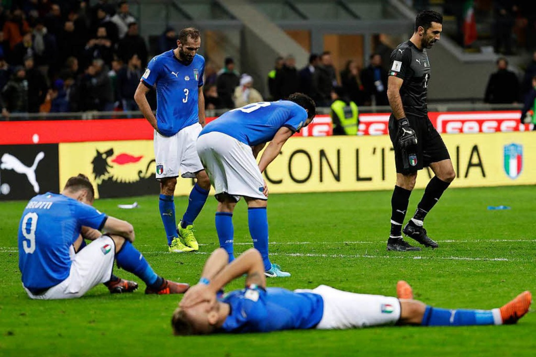 Enttäuschung pur bei den Italienern.    Foto: dpa