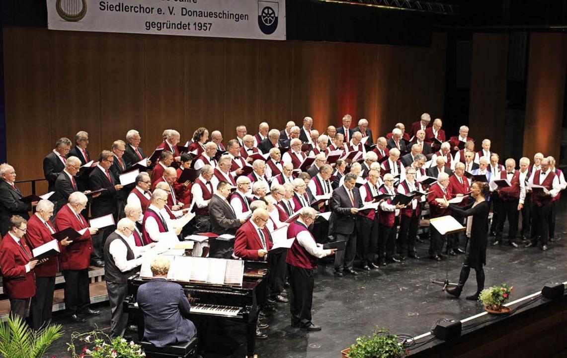 Zum großen Finale des Jubiläumskonzert...gen gemeinsamen Auftritt aller Chöre.   | Foto: Manfred Minzer