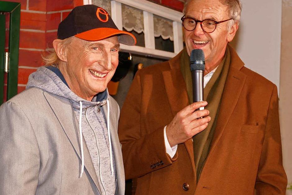 Otto Waalkes und Roland Mack bei der Eröffnung der Ausstellung Ottos Welt in der Mercedes Hall. (Foto: Frank Leonhardt)