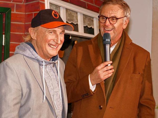 Otto Waalkes und Roland Mack bei der Eröffnung der Ausstellung Ottos Welt in der Mercedes Hall.