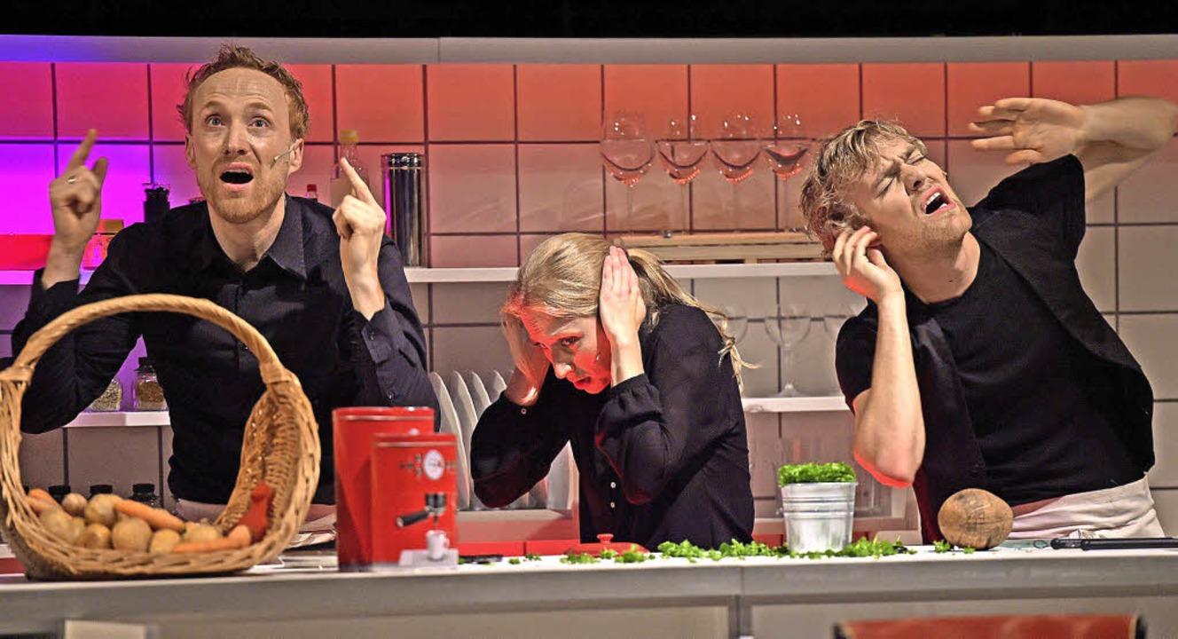Ganz schön laut hier: Philipp Schiemenz, Mariella Bachmann, Justin Auer   | Foto: Maurice Korbel