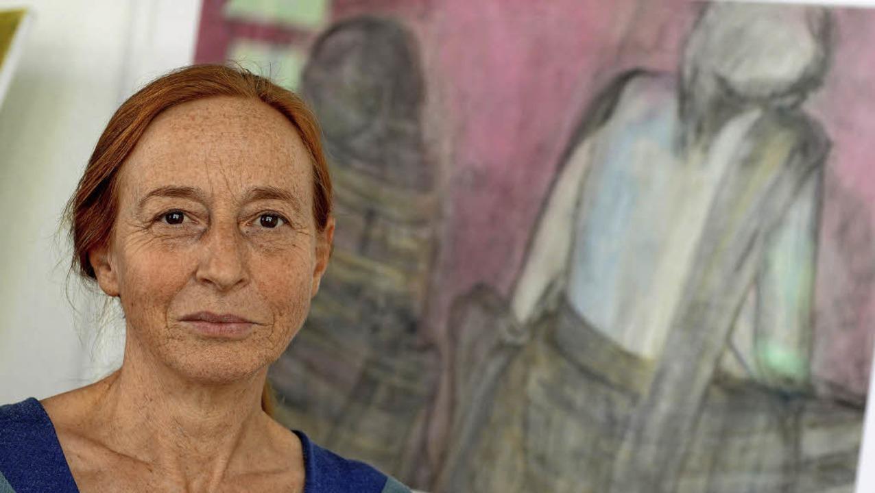 Margarete Schuhmacher vor einem ihrer Bilder.     Foto: Rita Eggstein