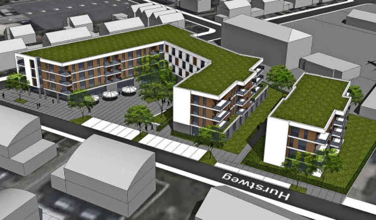 Vorher – nachher: oben der Anfan...ersion mit  einheitlichen Gebäudehöhen  | Foto: Visualierungen: Kühnl + Schmidt Architekten AG, Karlsruhe